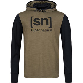 super.natural Alpine Hooded Sweater Men, olive night melange/jet black